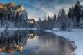 Картинка winter, Yosemite National Park, merced river