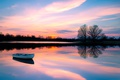Картинка лодка, отражение, закат