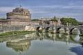 Картинка небо, мост, река, Рим, Италия, Тибр, замок Святого Ангела