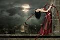 Картинка девушка, ночь, город, стена, готика, луна, высота
