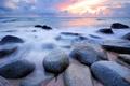 Картинка камни, прибой, вечер, облака, море