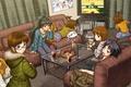 Картинка стол, комната, девочки, встреча, аниме, арт, вечеринка