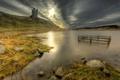 Картинка трава, озеро, камни, замок, берег, Шотландия, холм