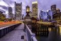 Картинка ночь, мост, огни, река, США, Boston, Massachusetts