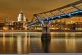 Картинка небо, река, Англия, Лондон, дома, Темза, мост тысячелетия