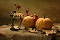 Картинка осень, листья, фонарь, тыква