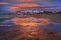 Картинка песок, небо, вода, облака, горы, река, Канада