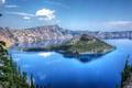 Картинка небо, облака, деревья, озеро, скалы, остров, панорама