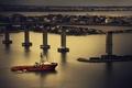 Картинка лодка, дома, залив, Бразилия, третий мост, Витория, Эспириту-Санту
