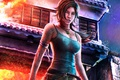 Картинка дом, пожар, Tomb Raider, art, Lara Croft