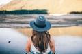 Картинка девушка, волосы, спина, шляпа, локоны