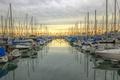 Картинка море, небо, облака, пальмы, лодка, яхта, hdr