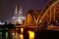 Картинка ночь, мост, огни, река, вечер, собор, германия