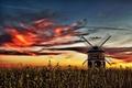 Картинка небо, закат, мельница
