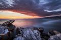 Картинка море, закат, труба