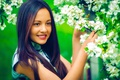 Картинка Girl, Green, Flowers, Smile, Beauty, Eyes, Face