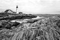 Картинка пейзаж, океан, скалы, маяк, Maine, Portland Head Light