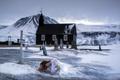 Картинка зима, девушка, кладбище