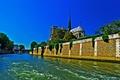 Картинка деревья, мост, река, Франция, Париж, Сена, собор парижской богоматери