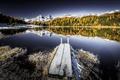 Картинка иней, осень, горы, мост, озеро