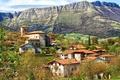 Картинка горы, скалы, поля, домики, Испания, Alava