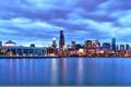 Картинка город, здания, небоскребы, вечер, Чикаго, США, Иллинойс
