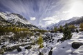 Картинка река, ручей, осень, деревья, природа, горы, снег