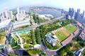Картинка дороги, дома, горизонт, панорама, Сингапур, высотки, Singapore