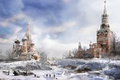 Картинка game, metro 2033, winter, Moscow, clock, cold, drawing