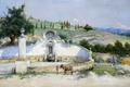 Картинка пейзаж, холмы, картина, источник, Ла Фуэнте де Сан Паскуаль, мул, Антонио Гомар