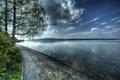 Картинка облака, деревья, озеро, Швейцария, hdr, набережная, Berlingen