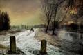 Картинка осень, снег, река