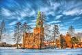 Картинка зима, небо, облака, снег, деревья, замок, Германия
