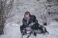 Картинка собака, мальчик, зима