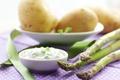 Картинка овощи, картофель, еда, спаржа, соус