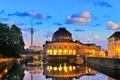 Картинка мост, огни, река, башня, дома, вечер, Германия