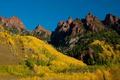 Картинка лес, деревья, горы, желтые, Colorado, Maroon Bells