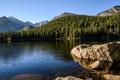 Картинка лес, деревья, горы, озеро, камни, США, Rocky Mountain National Park