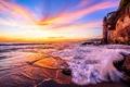 Картинка море, закат, берег
