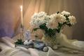 Картинка чай, свеча, ангел, конфеты, натюрморт, хризантемы