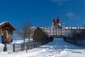 Картинка монастырь, башня, дом, снег, зима, купол, святилище