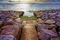 Картинка road, water, stones, rocky path