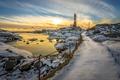 Картинка зима, море, маяк, утро