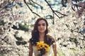 Картинка girl, dress, tree, lips, hair, cherry blossoms, bouquet