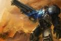 Картинка gun, starcraft 2, blue, marine