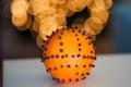 Картинка зима, огни, апельсин, Новый Год, Рождество, фрукт, цитрус