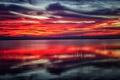 Картинка облака, закат, горы, озеро, отражение, зеркало, берег озера
