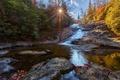 Картинка осень, лес, солнце, природа, река