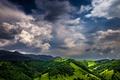 Картинка горизонт, небо, зеленый, горы, облака