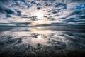 Картинка море, солнце, облака, горизонт, отлив